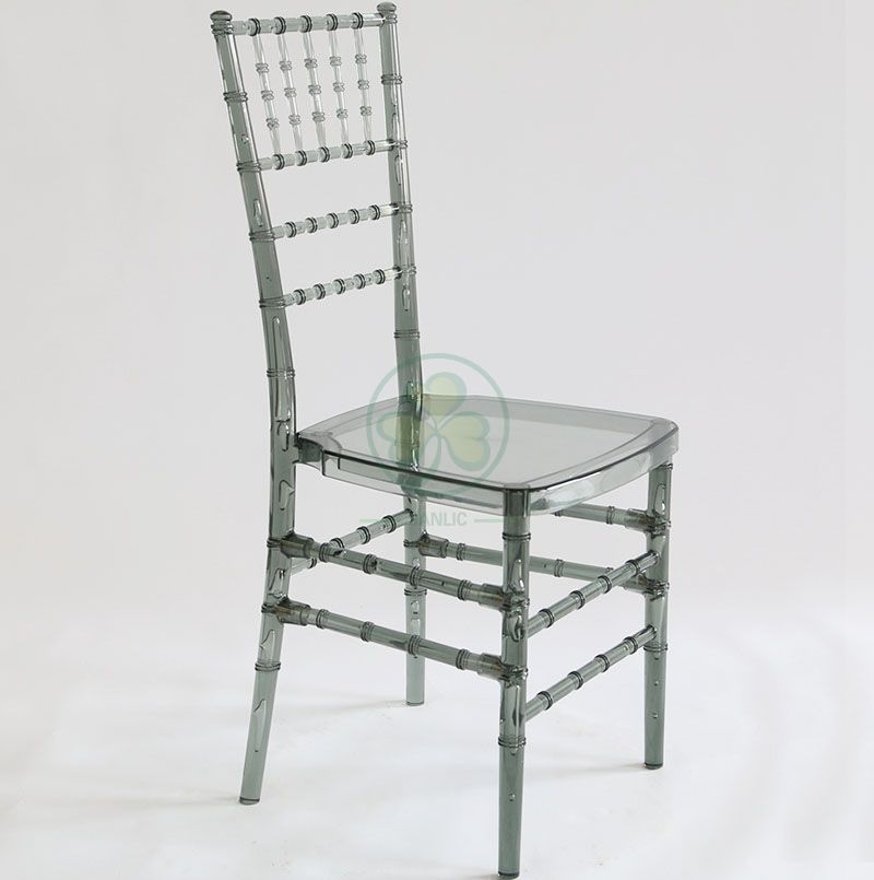 Factory Price Transparent Smoky Gray Resin Chiavari Chair for Various Social Events SL-R1966SRCC