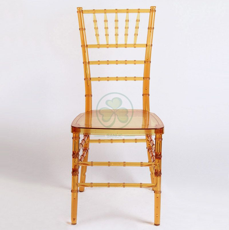 Wholesale Transparent Amber Resin Tiffany Chair for Weddings and Catering Services SL-R1967ARTC