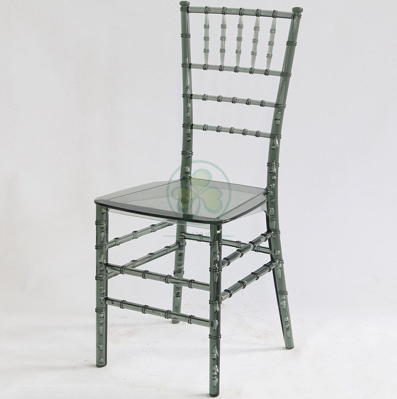 Wedding Crystal Smoky Gray Resin Monoblock Tiffany Chair for Indoor or Outdoor Events SL-R1977RMTC