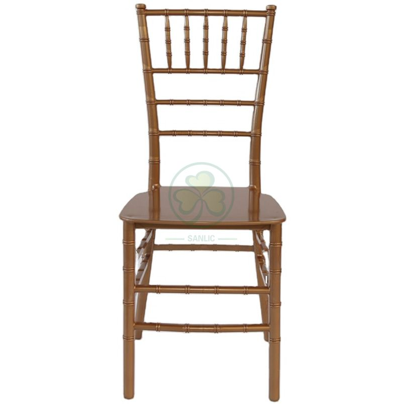Hot Selling Hotel and Banquet Gold Resin Monoblock Tiffany Chair  SL-R1979GRMT