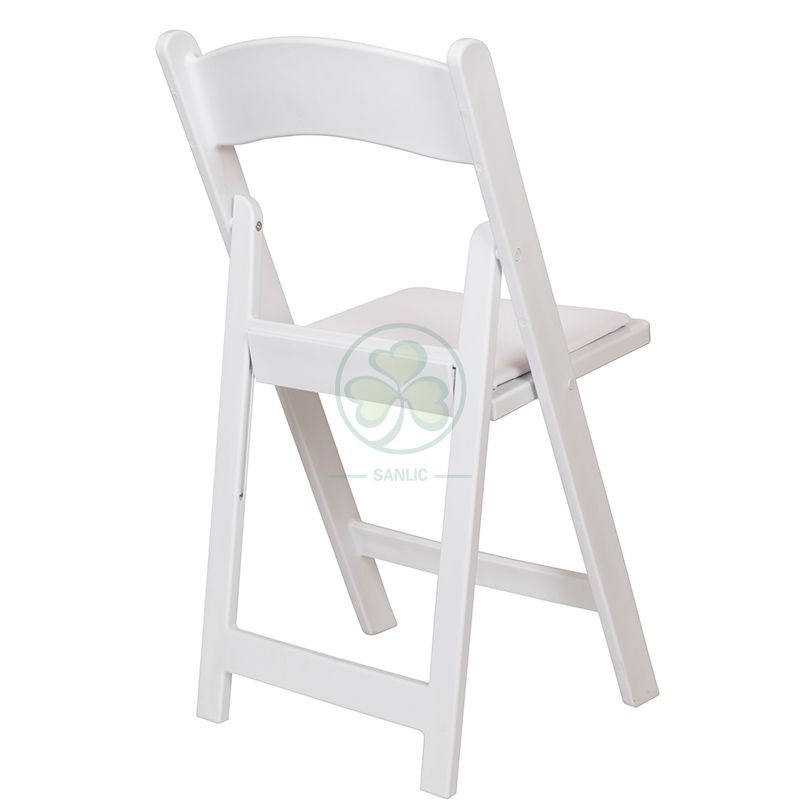 White Resin Folding Chair for Outdoor or Indoor Bride and Groom Wedding Ceremony SL-R1999WRFC