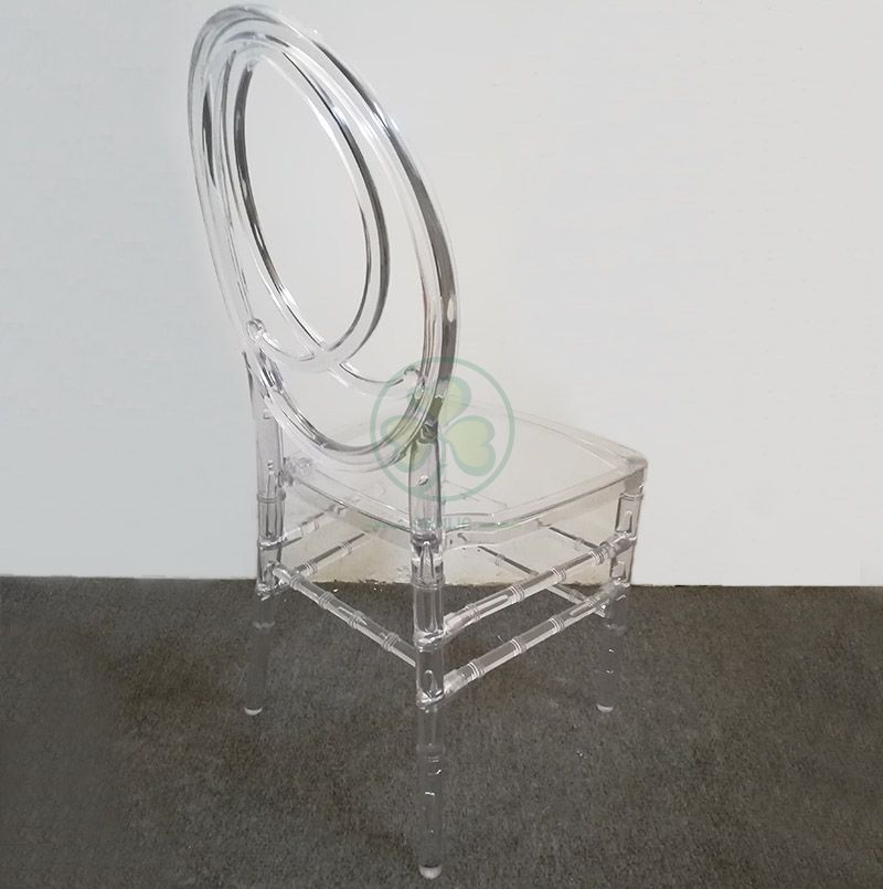 Morden Elegant Transparent Resin Phoenix Chair with Fish-Shaped Back for Weddings and Events   SL-R2015CRPC
