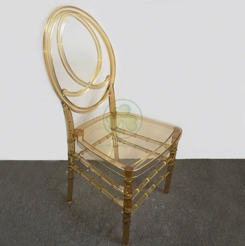 Wholesale Crystal Amber Resin Phoenix Chair with Fish-Shaped Back for Party and Wedding Rentals SL-R2020ARPC