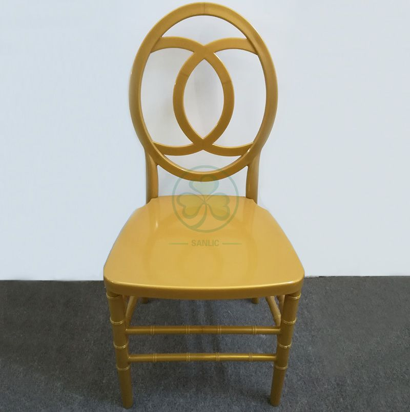 Popular Wholesale Resin Phoenix Chair Channel Back in Gold for Weddings Banquets and Receptions SL-R2025GPPC