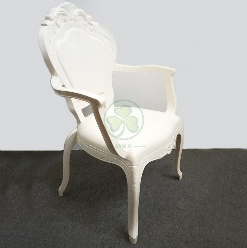 Wholesale Wedding Furniture Resin Plastic Ivory Bella Chair With Arms SL-R2034IRBC