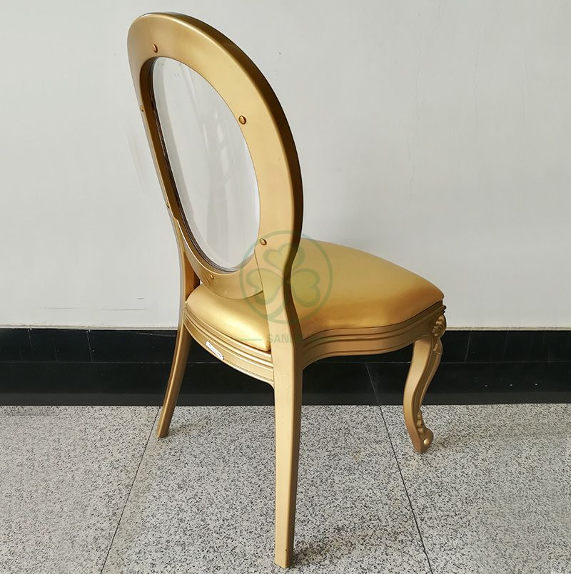 Wholesale Luxury PC Resin Louis Chair with Padded Seat and Clear Back for Dining Halls or Hotels Banquets  SL-R2035WRLC