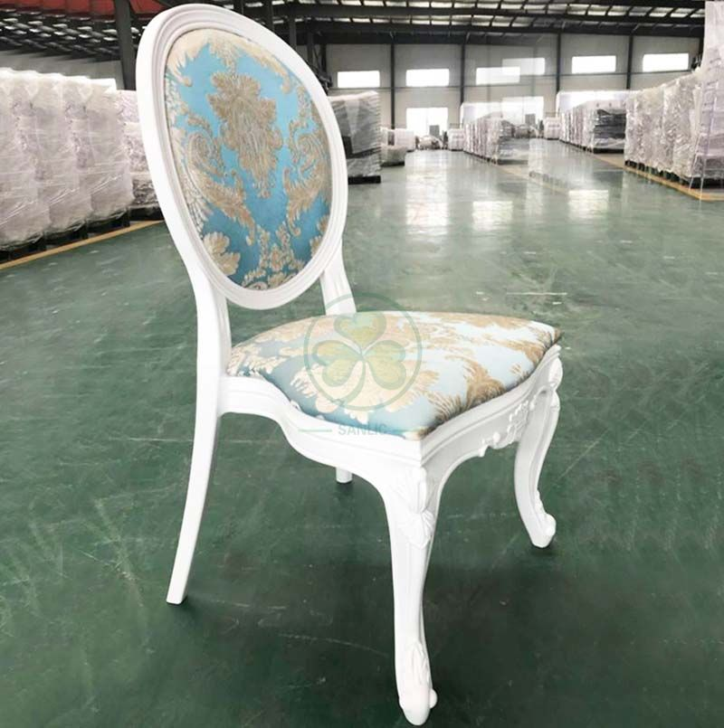 Resturant Furniture Resin Louis Chair with Jacquard Fabric Padded Seat and Back SL-R2039DRLS