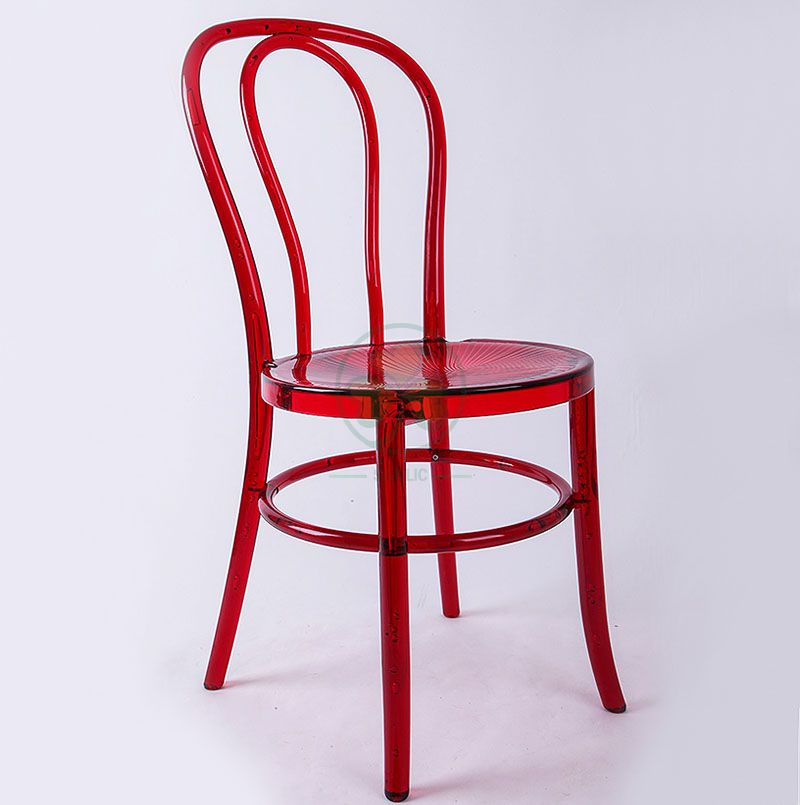 High Quality Crystal Red Resin Thonet Chair for Wedding Reception or Dining Halls SL-R2049RRTC