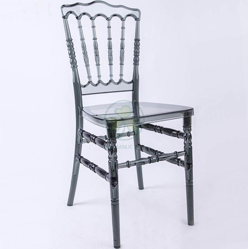 Wedding Furniture Crystal Smoky Gray Plastic Napoleon Party Chair for Banquets and Weddings  SL-R2055SPNC