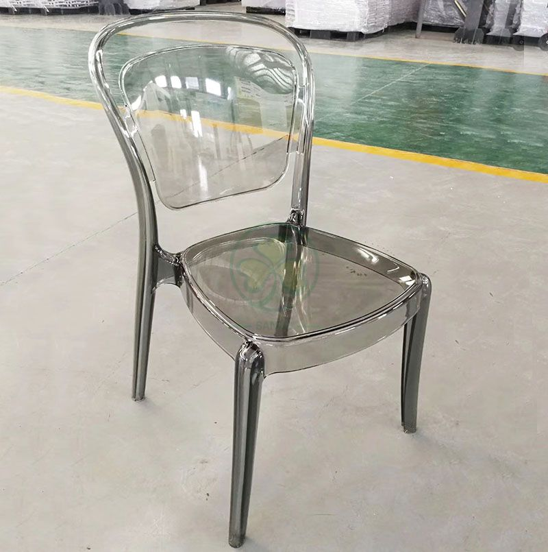 Wholesale Crystal Smoky Gray Plastic Lucent Banquet Chair for Catering Services or Kitchen  SL-R2059GPLC