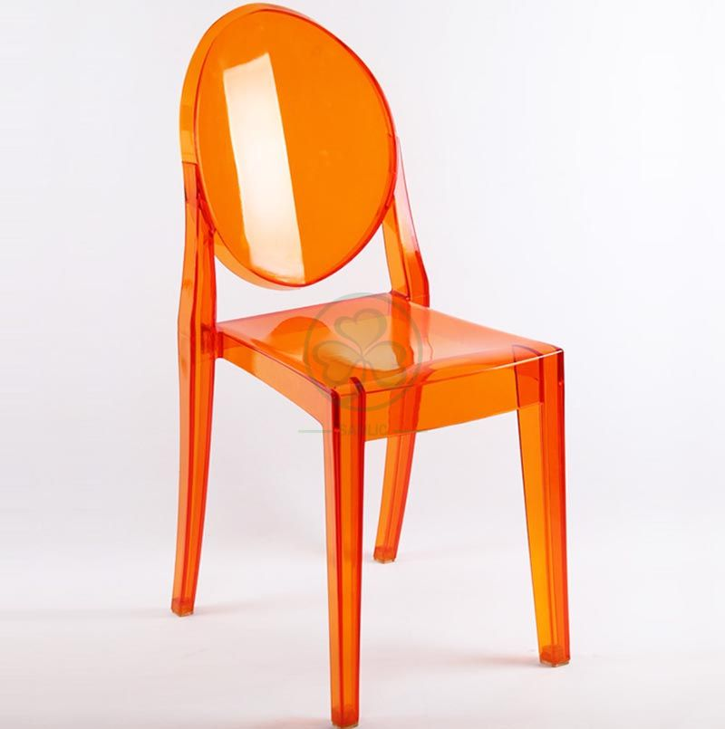 Best Popular Resin Ghost Dining Chair for Hotels or Resturants in Crystal Amber SL-R2065ARGC