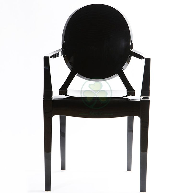 Stackable Black Resin Louis Ghost Armchair for Various Social Events SL-R2072BRLC