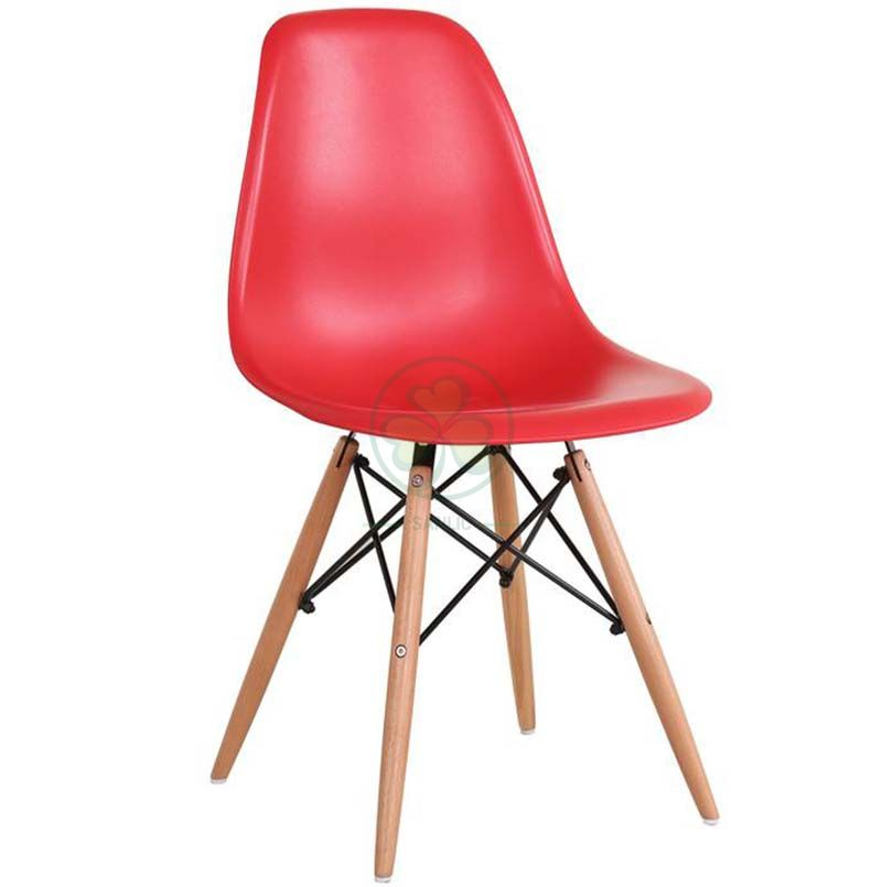 Wholesale Modern Design Eames Molded Plastic Side Chair with Wooden Crossed Leg SL-R2080EMPC