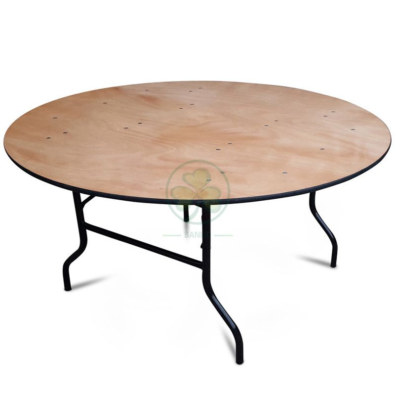 Wholesale Round Wood Folding Banquet Table for Indoor or Outdoor Events or Weddings with PVC Edge SL-T2085WRTP