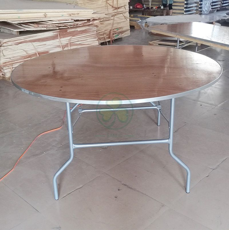 High Quality Wood Round Folding Event Table for Banquet Halls or Wedding Venues with AL Edge SL-T2086WRTA