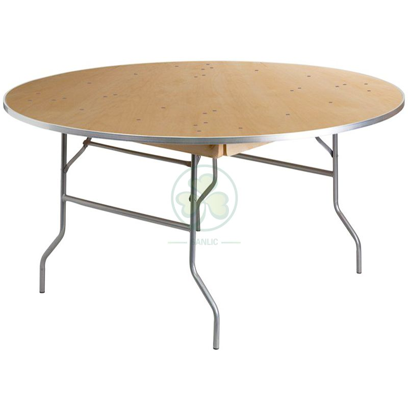 Customized Modern Dining Furniture Round Wooden Folding Tables by Birch Wood with AL Edge  SL-T2087CWRT