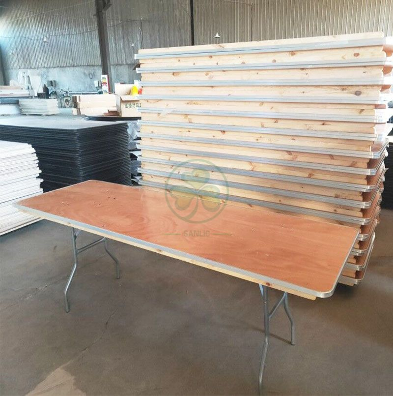 Hot Sale Plywood Foldable Trestle Table for Indoor or Outdoor Various Weddings and Events Occasions with AL Edge SL-T2095PFRT