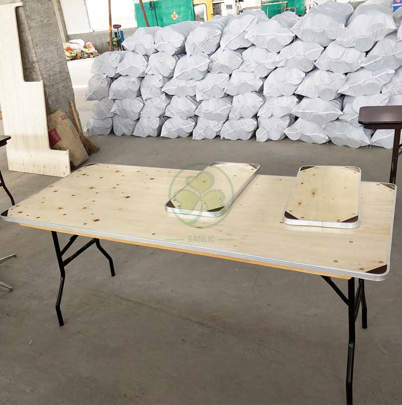 Customized Wood Rectangular Folding Table with Special Protective Angle SL-T2097CRFT