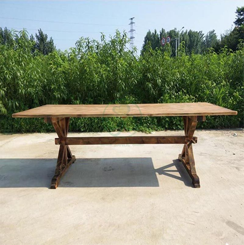 Hot Sale Outdoor Rectangular Rustic Solid Wood X Brace Farmhouse Table  SL-T2104RRXF