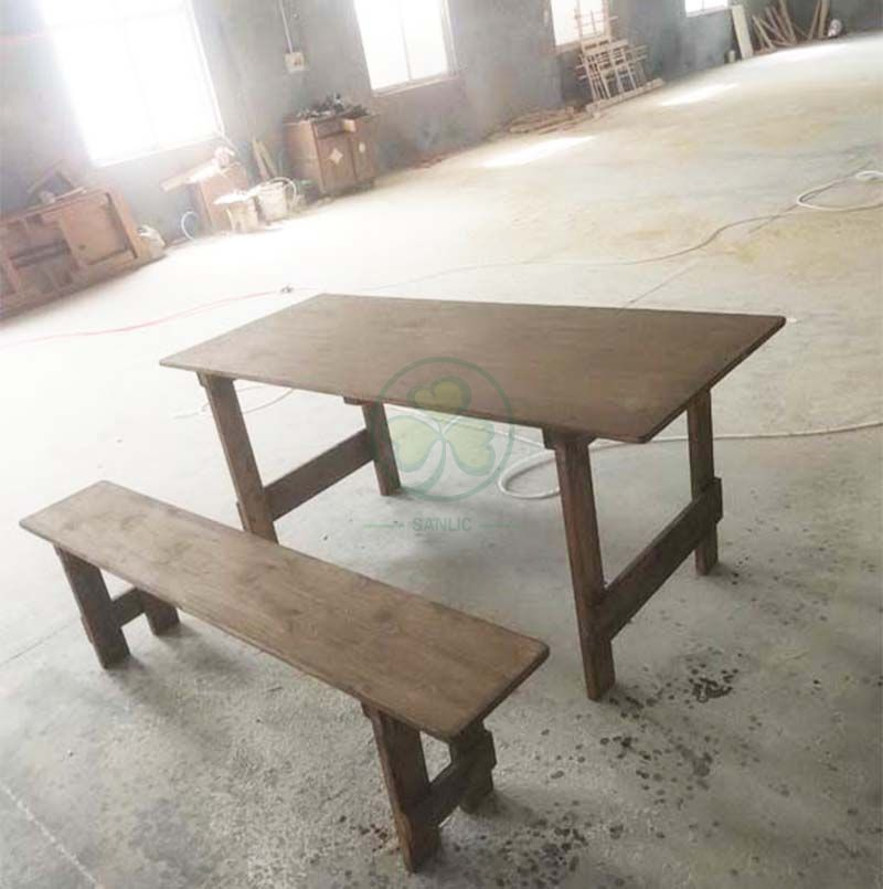 Custom Antique Rectangular Solid Wood Farm Table and Bench for Outdoor Events or Catering Services SL-T2115BFHT