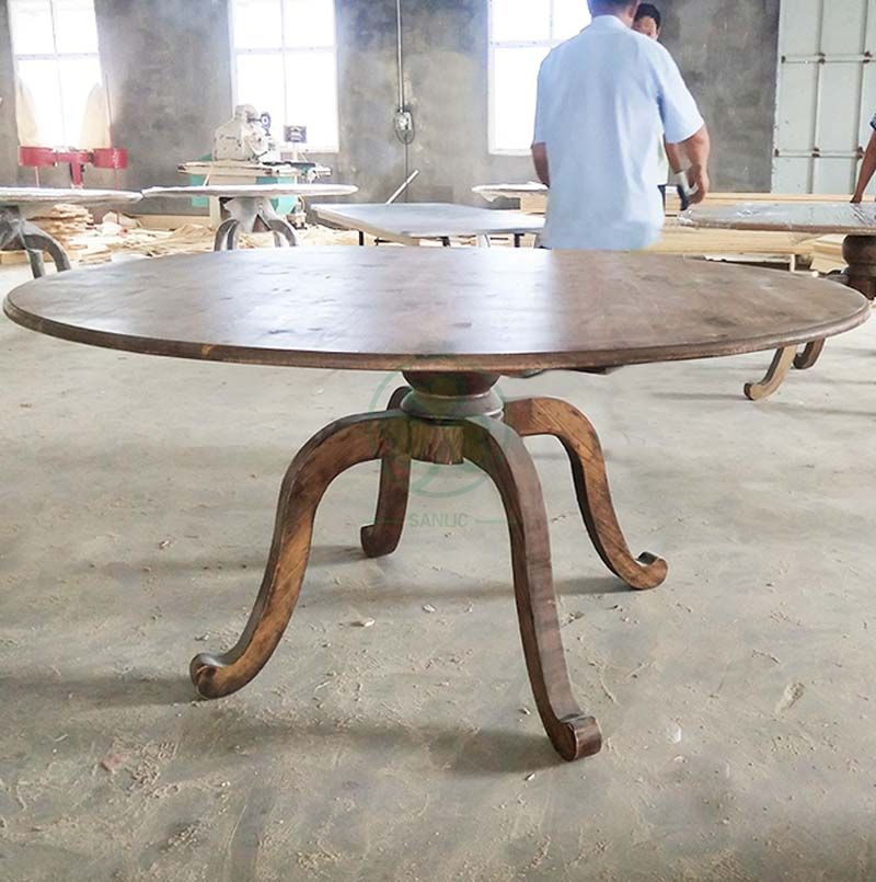 Customized Reclaimed Wood White Round Pedestal Dining Table SL-T2120WWPT