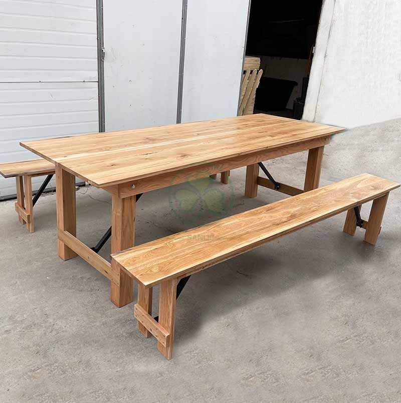 Factory Direct Folding Rustic Farmhouse Bench for Outdoor Weddings and Events SL-T2122WFHB