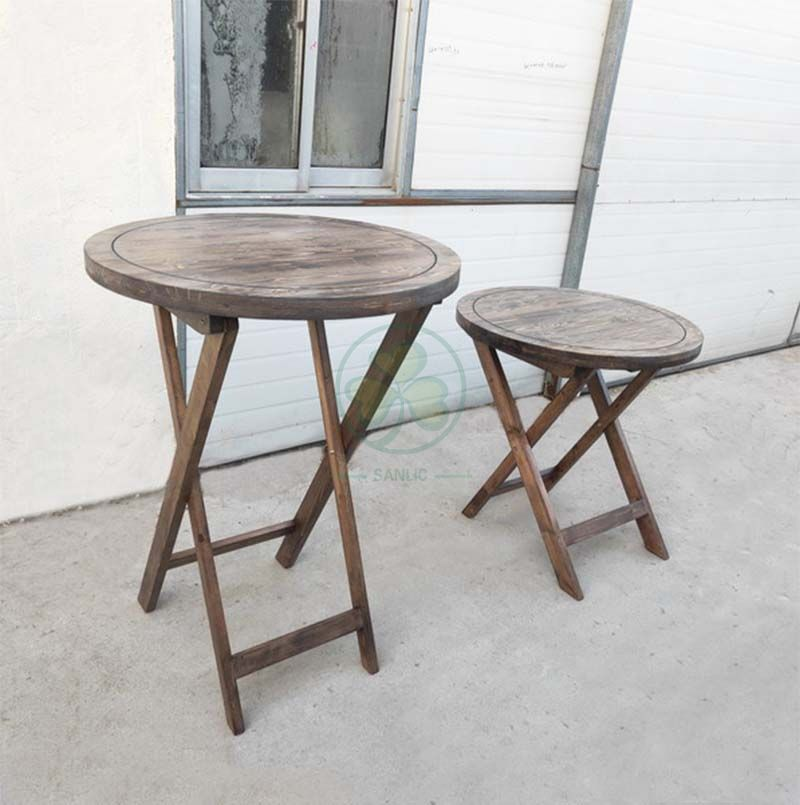 Wholesale Farmhouse Style Wood Folding Round Bistro Table for Garden or Patio SL-T2125FSBT