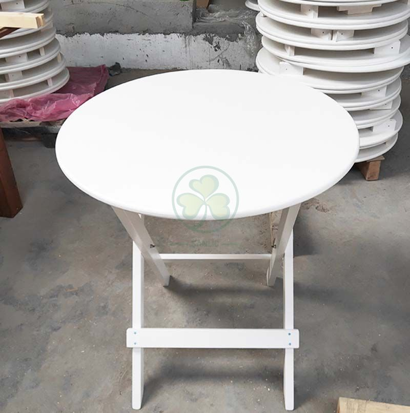 White Round Folding Bistro Table for Ice Cream Shops or Window Nook  SL-T2128WWBT