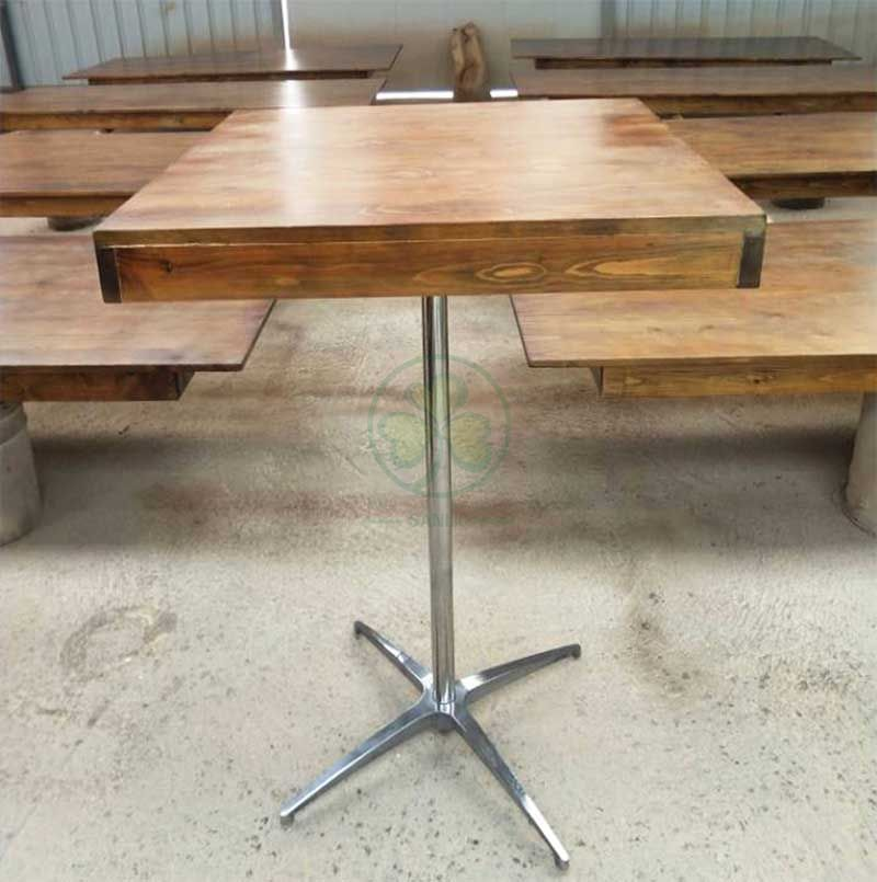 Farmhouse Style Reclaimed Wood and Steel Pedestal Pub Table SL-T2131WSPT