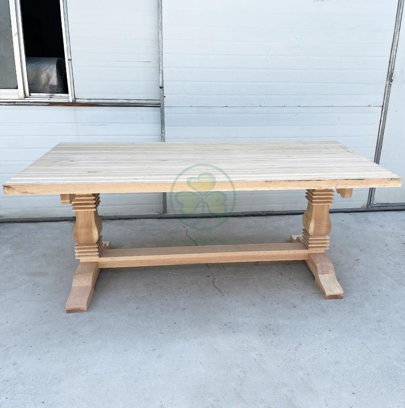 New Designed Solid Wood Trestle Pedestal Large Rectangle Farmhouse Dining Table SL-T2133NFPT