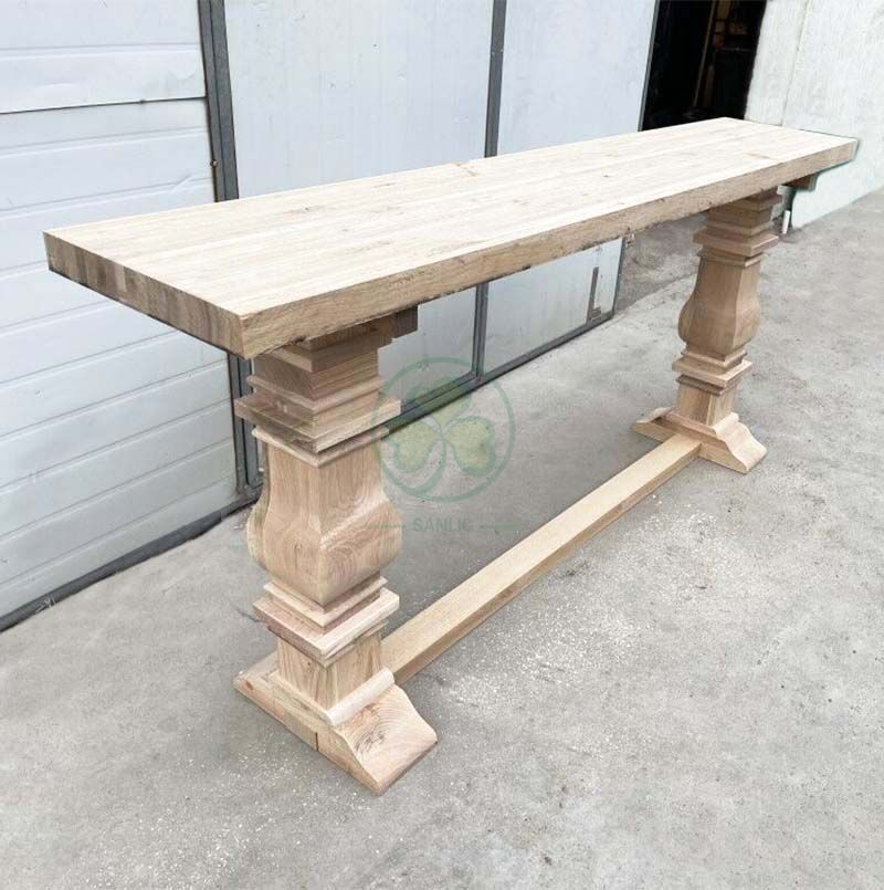Custom Solid Wood Farmhouse Counter Height Trestle Pedestal Console Table SL-T2135FTPC