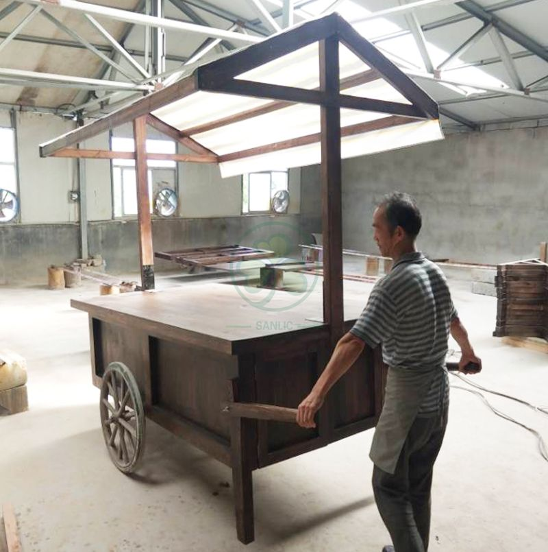 Bespoke Food Cart with Canopy and Storage Cabinet for Weddings and Events  SL-T2143