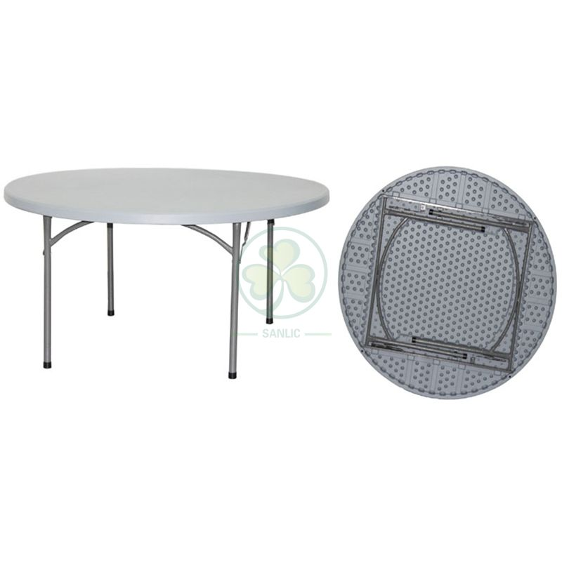 Factory Direct 5ft Round Plastic Folding Banquet Table for Outdoor or Indoor Parties Or Celebrations  SL-T2155PFRT