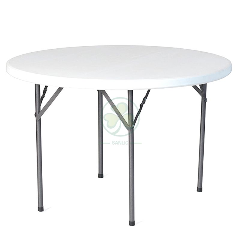 Factory Direct 43inches HDPE White Plastic Round Folding Dining Table for Indoor and Outdoor Events and Banquets  SL-T2159HPRF