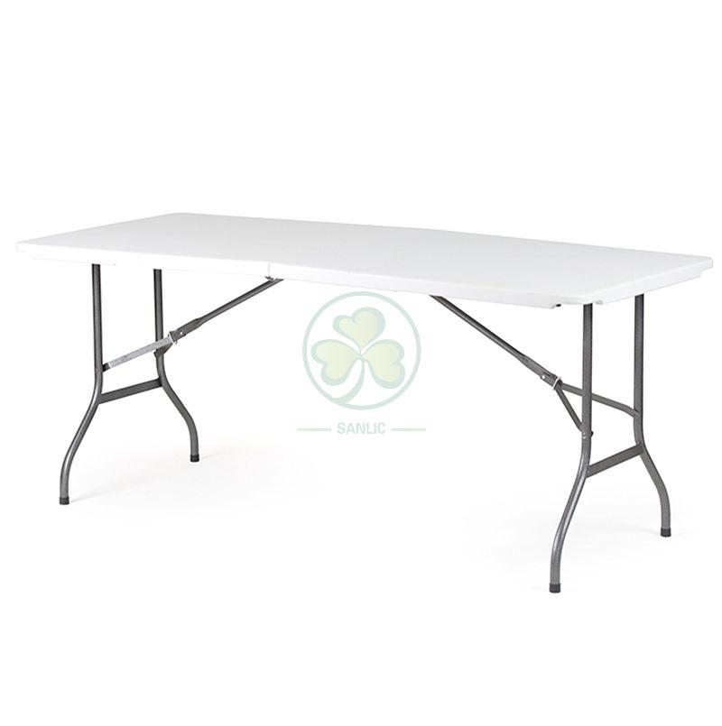Factory Direct 6ft Plastic Rectangular Fold-In-Half Table T4.0 SL-T2163PFIT