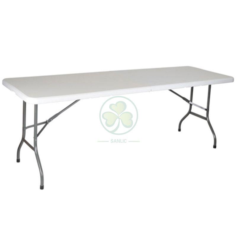 Granite White 8ft Rectangular Fold-In-Half Dining Table SL-T2167GWRT