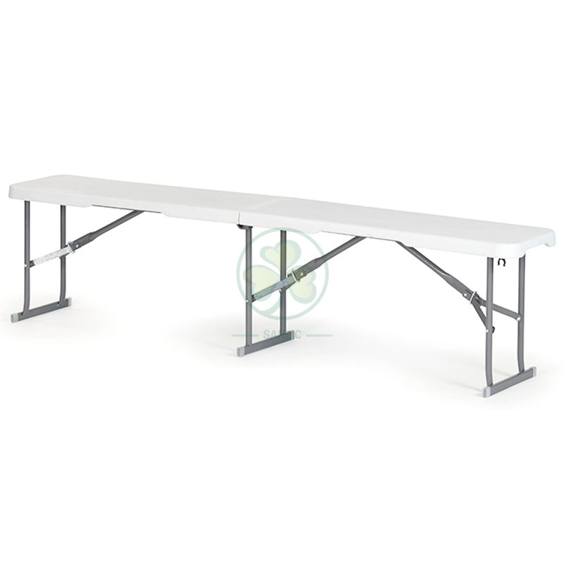 Factory Direct HDPE Granite White 6ft Plastic Fold-in-Half Bench T4.0 SL-T2172PFHB