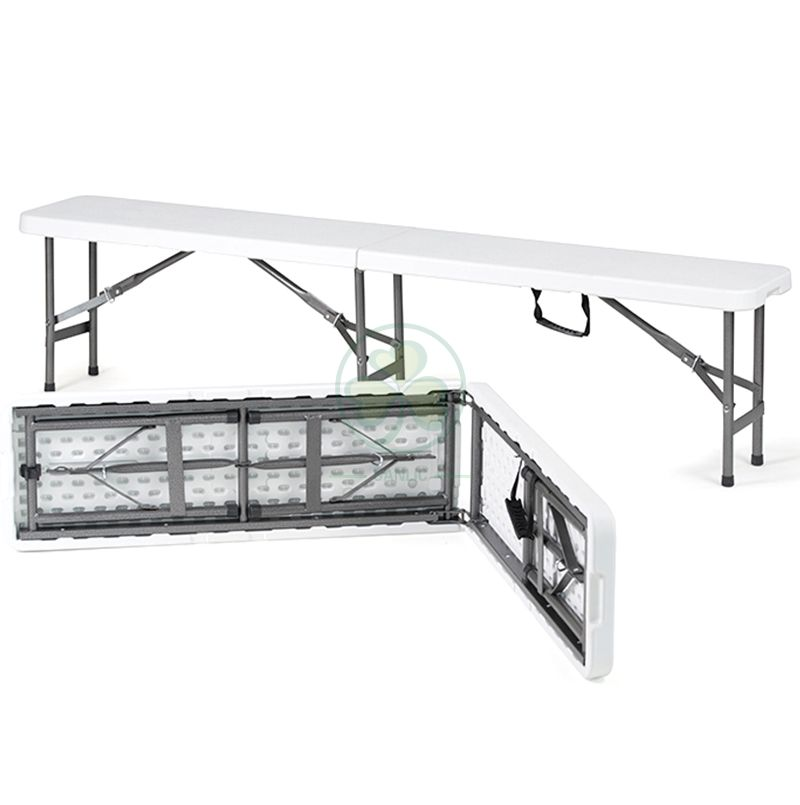 Popular 6ft Plastic Foldable Fold-in-Half Bench for Various Events or Parties T5.0 SL-T2173PFFB