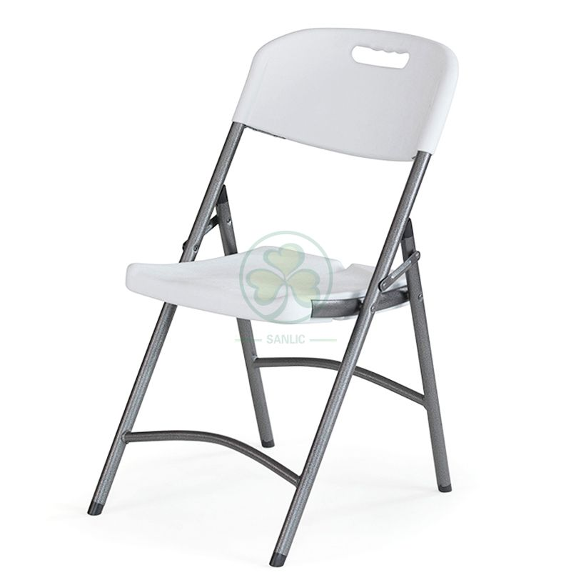 High Quality Popular Blow Molded White Plastic Folding Chair with Gray Frame (TUBE DIA28) SL-T2177HBFC