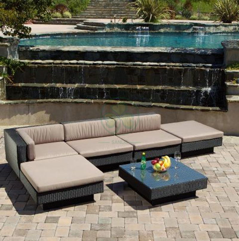 High Quality All Weather Outdoor Furniture Classic Sofa Set Cane Sofa SL-WR2180OWSS