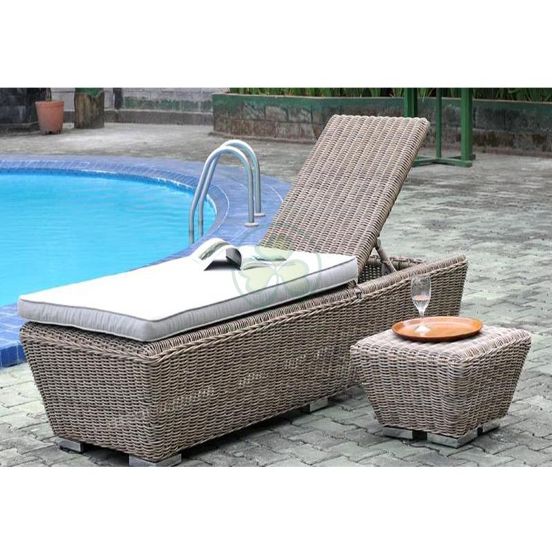Best Seller Outdoor Chaise Lounge Sunbed Rattan Pool Lounge Chairs For Resort  SL-WR2181RPLC