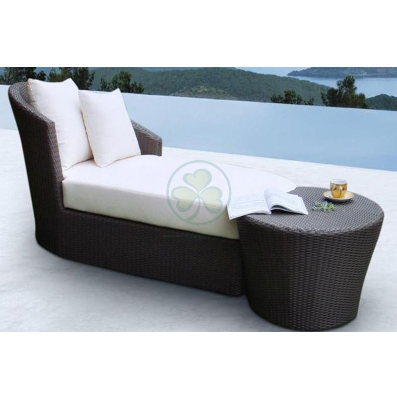 Popular Durable Outdoor Furniture Rattan Sun Lounger Sun Bed Lounger For Beach Or Hotel  SL-WR2183ORLC