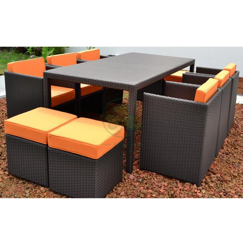 Popular Widely Used Classical Wicker Outdoor Patio Garden Dining Table and Chair  SL-WR2186OPTC