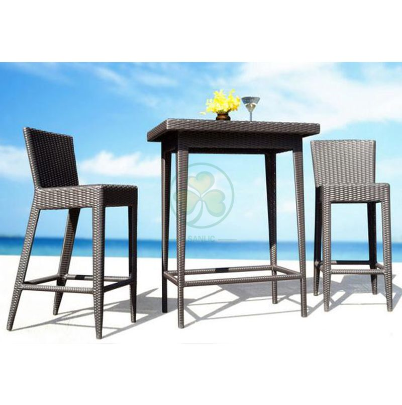 Factory Wholesale All Weather High Quality Outdoor Furniture Rattan Bar Set and Restaurant Table and Chairs Set SL-WR2188ROTC