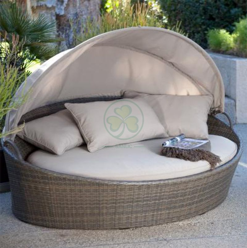 Hot Sale Outdoor Furniture Rattan Patio Garden Wicker Round Daybed SL-WR2192WRDB
