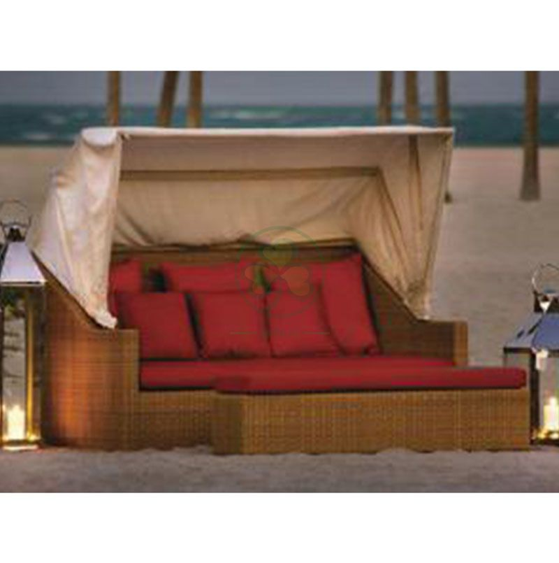 Factory Wholesale Classical Design Comfortable Outdoor Furniture Wicker Rattan Sunbed with Raincover SL-WR2193CWRS