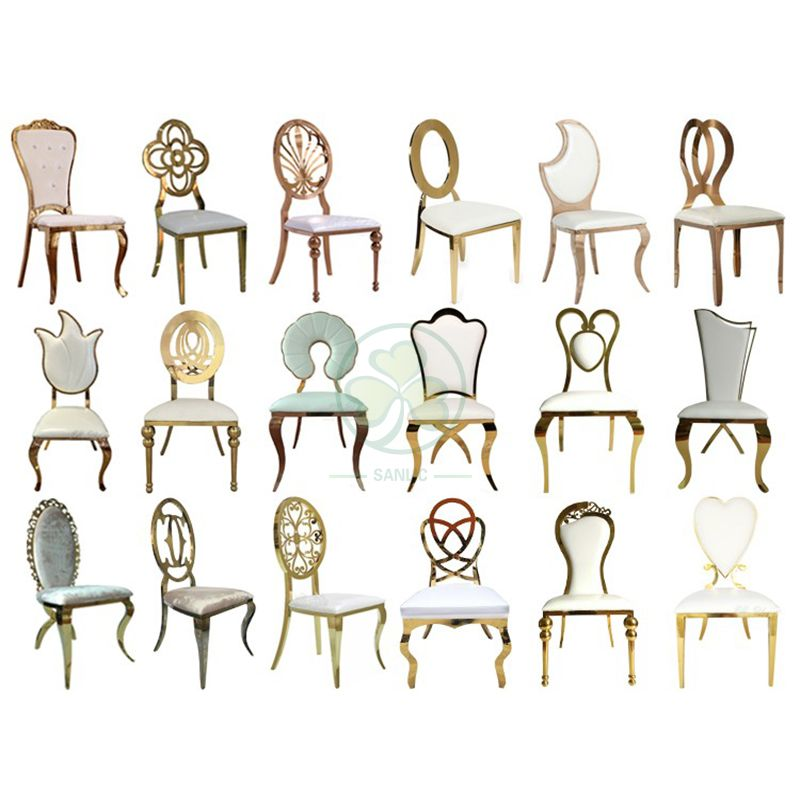 Best Popular Stainless Steel Gold O Back Chair Infiniti Chair for Weddings and Events SL-MC2197SOBC