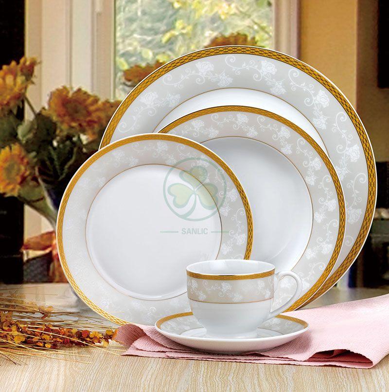 Factory Wholesale Bulk Wedding Banquet Hall Event Porcelain Dinner Plate Bone China Dinner Set SL-CD2199EPDP