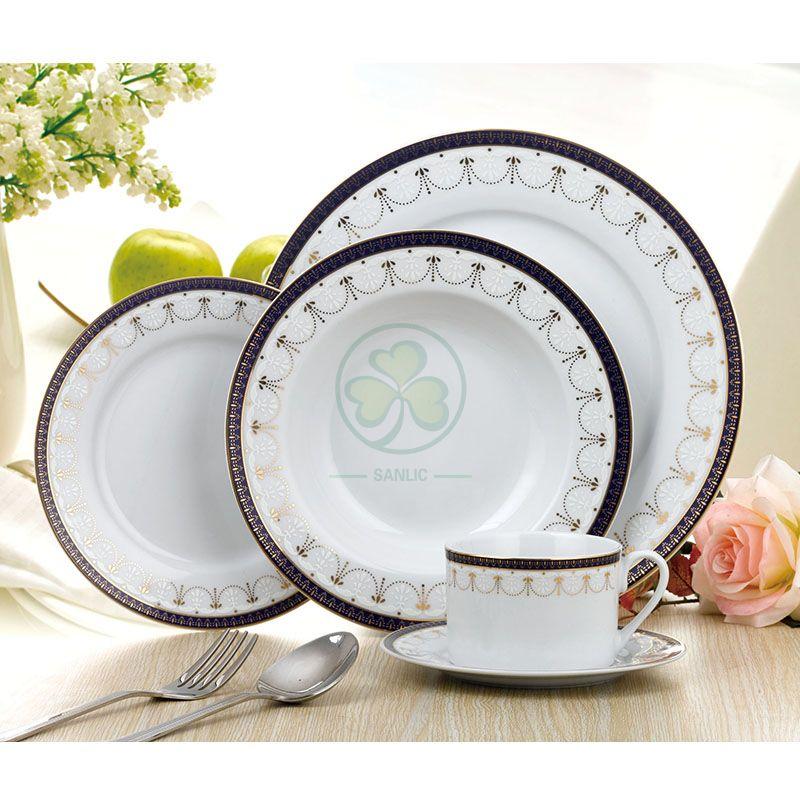 Hotel Restaurant Wedding Event Round Dishes Porcelain Dinnerware Sets Ceramic Dinner Plates  SL-CD2201RDWS