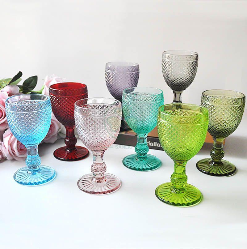 Wholesale Glassware Coloured Goblet Wine Glasses Water Glass Goblets SL-CD2203WCGG